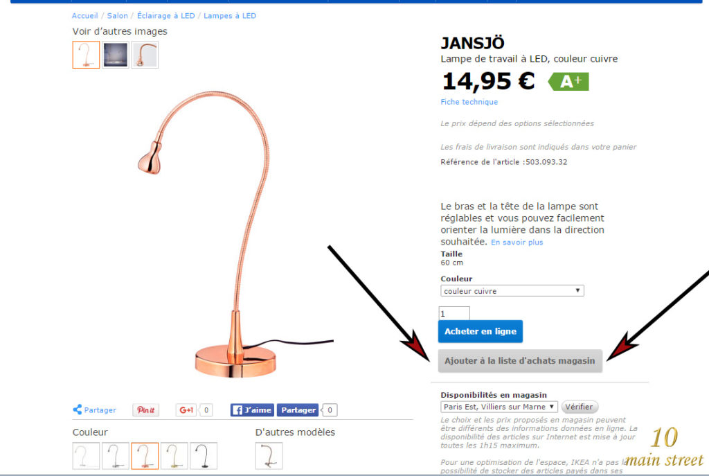 Description d'un article chez Ikea