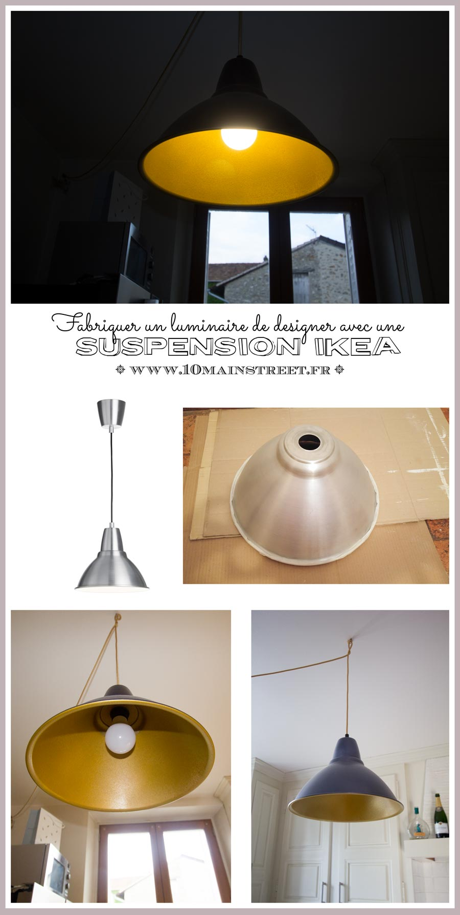 ikea hack fabriquer un luminaire de designer avec une suspension ikea. Black Bedroom Furniture Sets. Home Design Ideas
