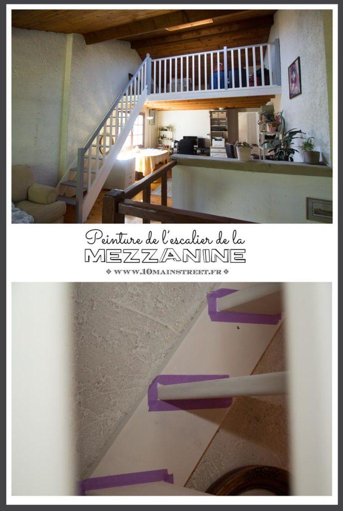Peinture de l'escalier de la mezzanine du bureau