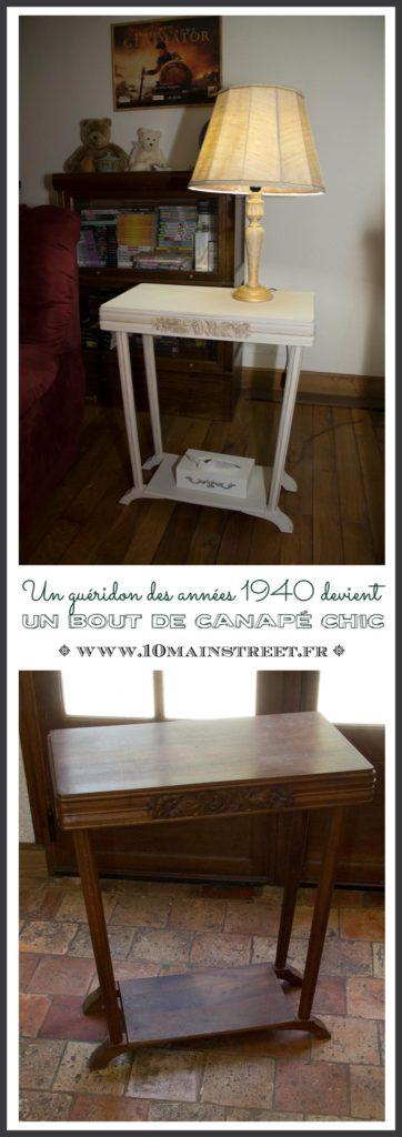 Un guéridon des années 1940 devient un bout de canapé chic | shabby-chic art-deco | French art-deco style side table makeover