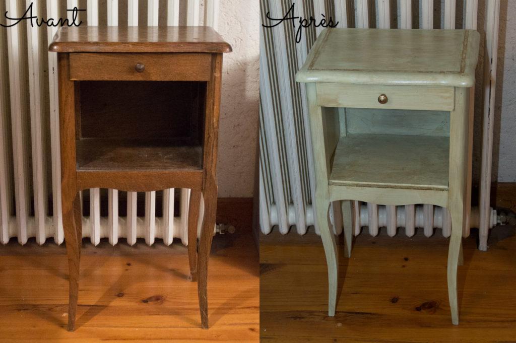 transformer un meuble au spray table de chevet des. Black Bedroom Furniture Sets. Home Design Ideas