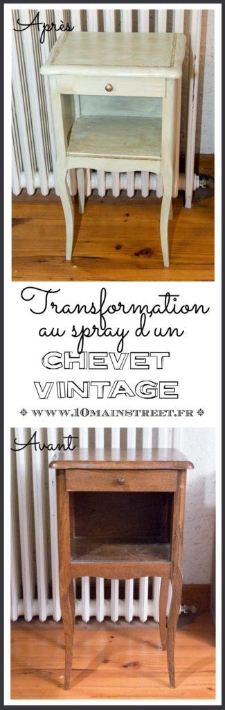 Transformation au spray d'un chevet vintage | peinture à la craie #chalkpaint #spraypaint #bombe #peinturealabombe