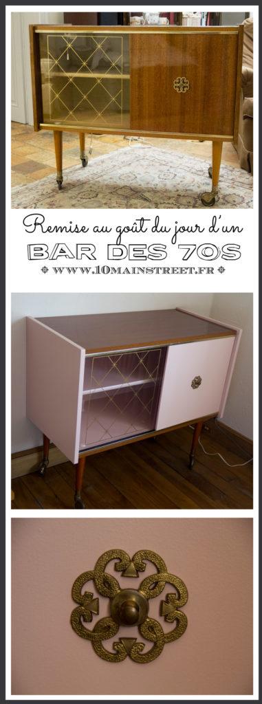 Remise au goût du jour d'un meuble bar vintage des 70s | #furnituremakeover #furnitureflip #vintage #scandi #nordic #relookingmeuble #liberon #tollens #peinturemeuble