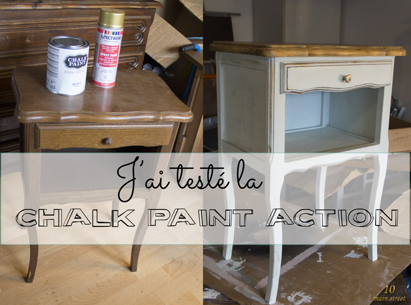 j 39 ai test la chalk paint action et c 39 est plut t bien en fait. Black Bedroom Furniture Sets. Home Design Ideas