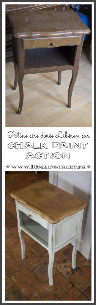 Patine cire dorée Libéron sur Chalk paint Action