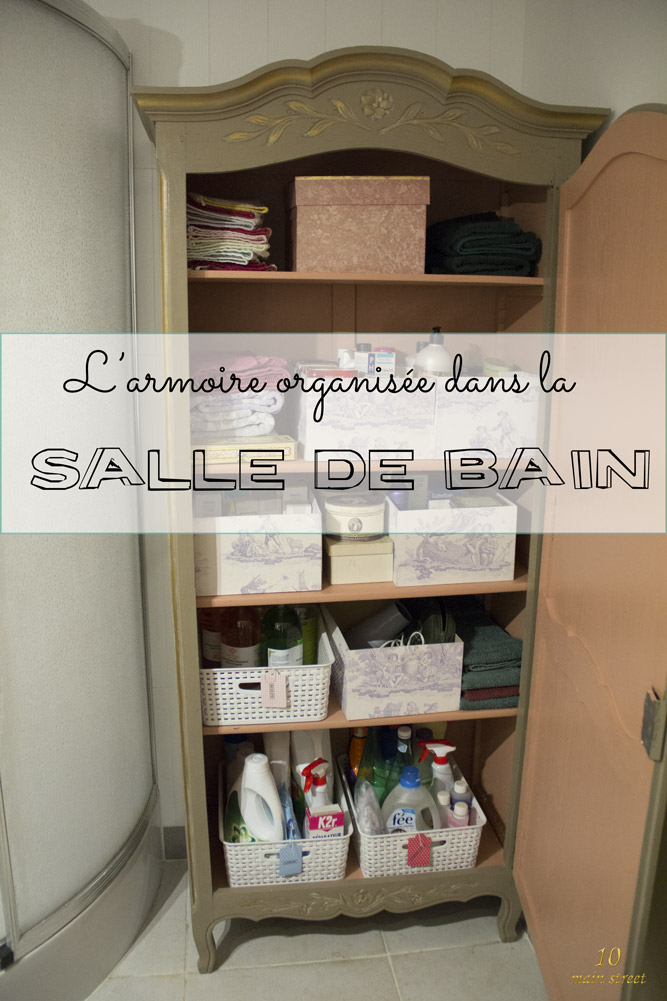 L'armoire organisée dans la salle de bain | #relookingmeuble #meublepeint #organisation #bathroom #furnituremakeover #paintedfurniture #frenchfurniture #frenchstyle