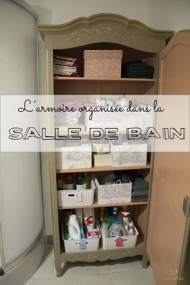 L'armoire organisée dans la salle de bain de mes parents