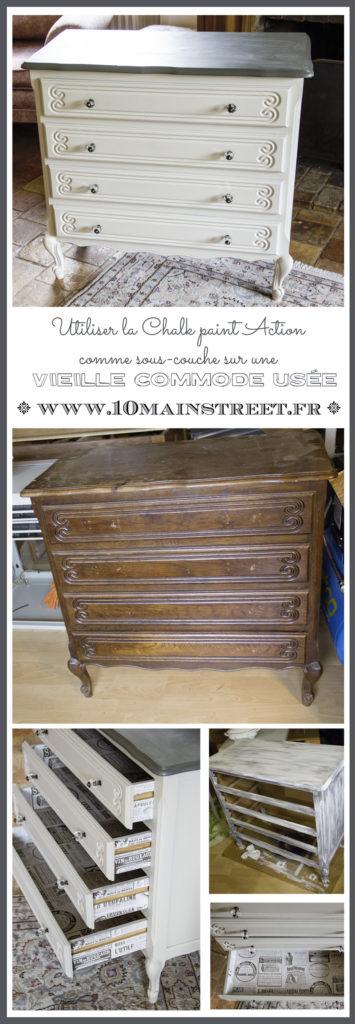 Utiliser la Chalk Paint Action comme sous-couche sur une vieille commode | www.10mainstreet.fr