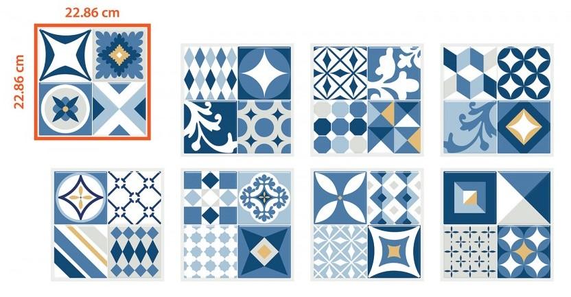 Carrelage adhésif Smart Tiles modèle vintage Azur