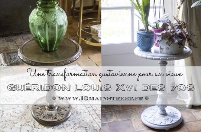 Transformation gustavienne pour un vieux guéridon Louis XVI des 70s