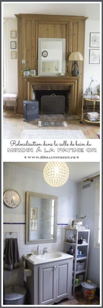 Relocalisation dans la salle de bain du miroir à la patine or | www.10mainstreet.fr