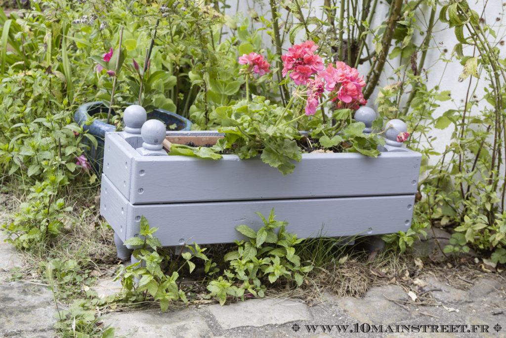 Jardinière de géraniums