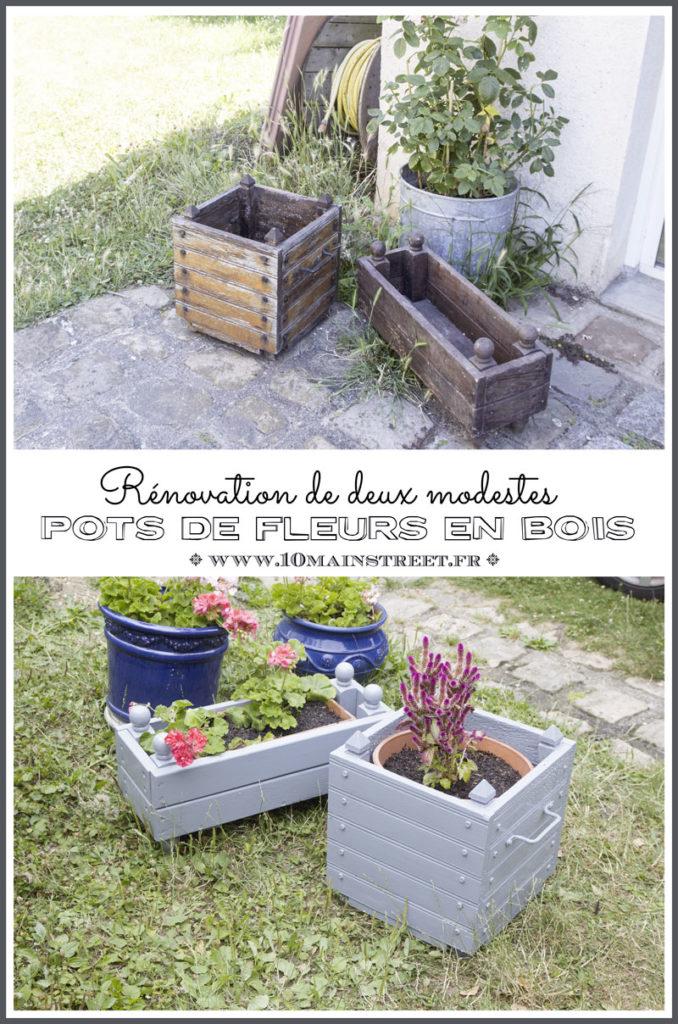 Rénovation de deux modestes pots de fleurs en bois