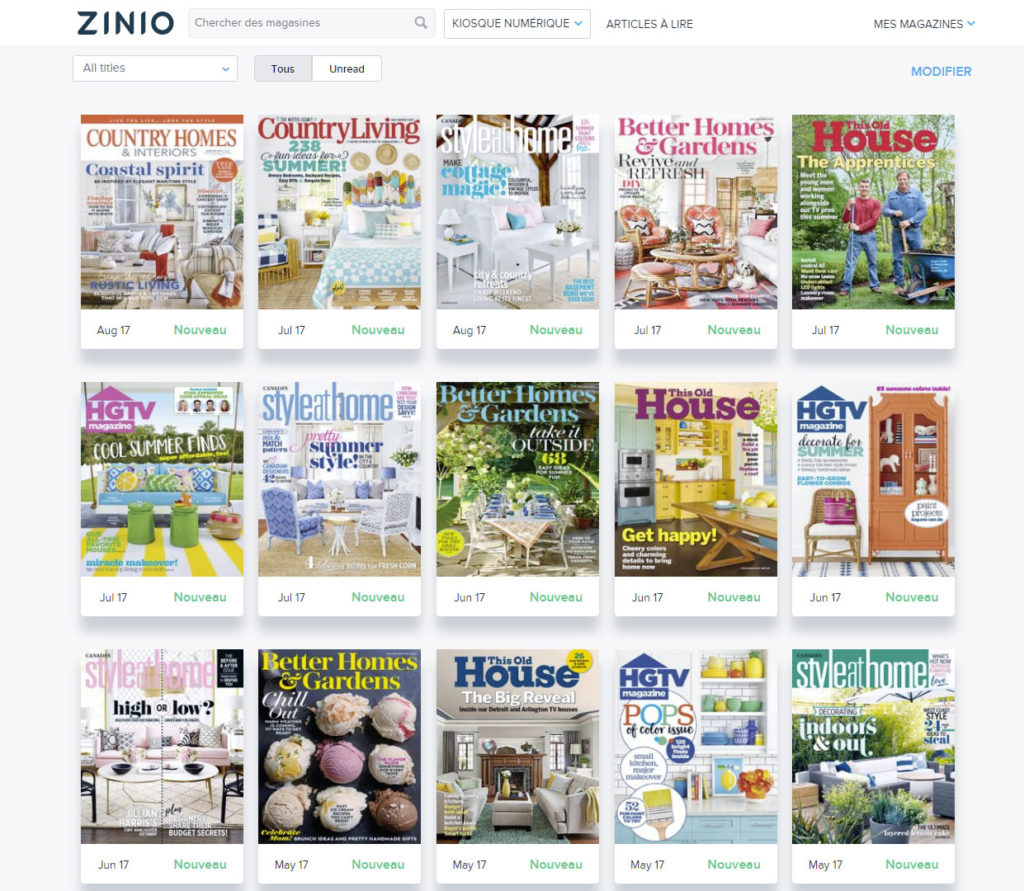 Ma bibliothèque Zinio