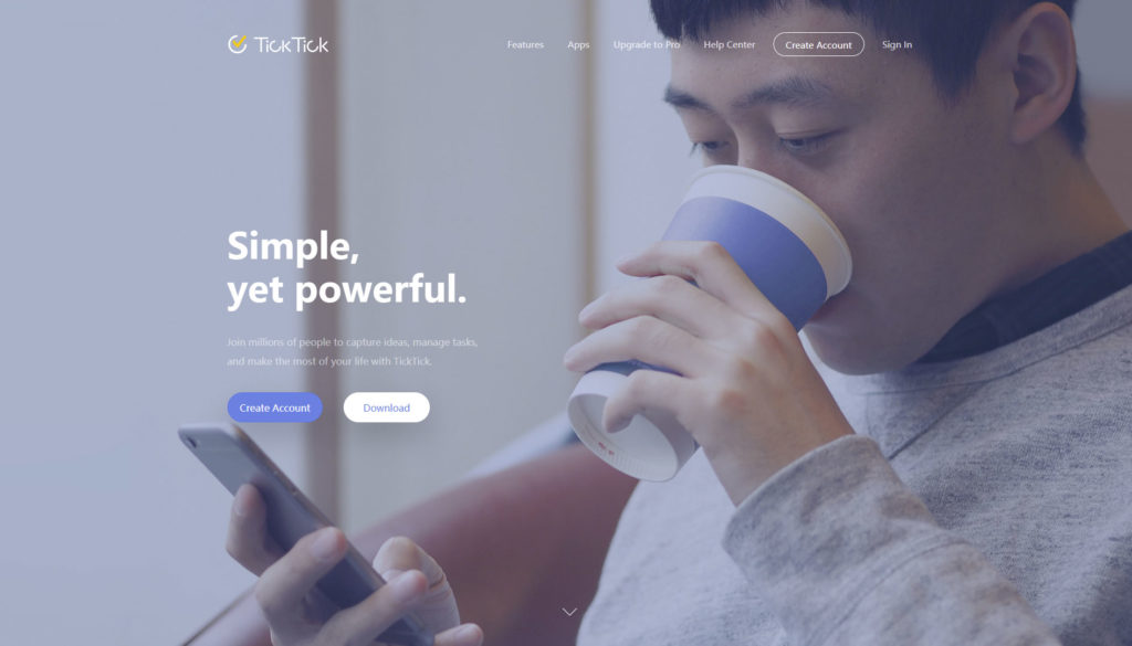 Page d'accueil de Ticktick