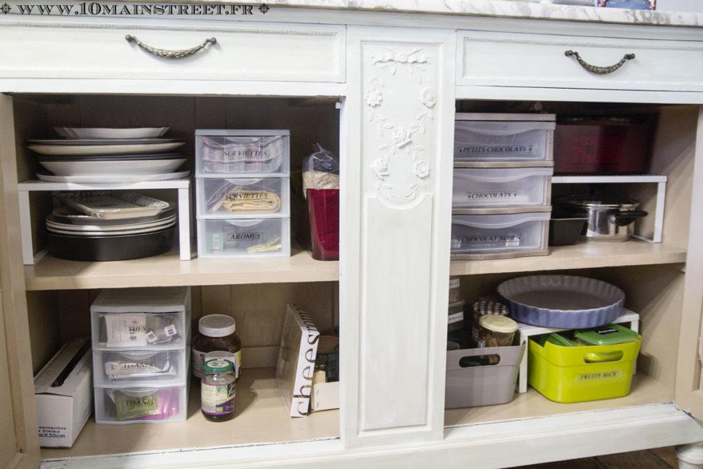 Organisation provisoire du bas du vaisselier