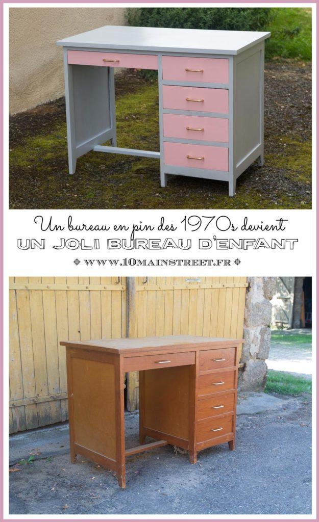 Un bureau en pin des années 1970 devient un joli bureau d'enfant