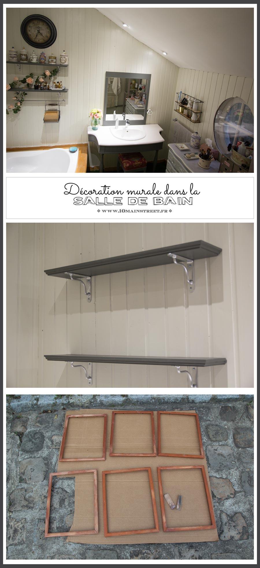 Décoration murale dans la salle de bain : étagères et photos ...