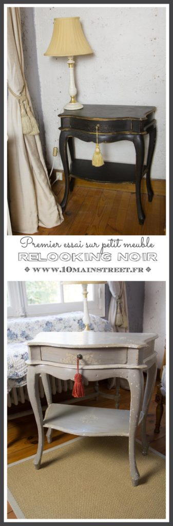 Premier essai de relooking noir sur petit meuble - bout de canapé façon Napoléon 3