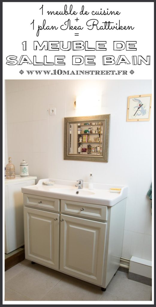 1 meuble de cuisine + 1 plan vasque Ikea Rattviken = 1 meuble de salle de bain | DIY bathroom vanity with kitchen unit and Ikea Rattviken sink