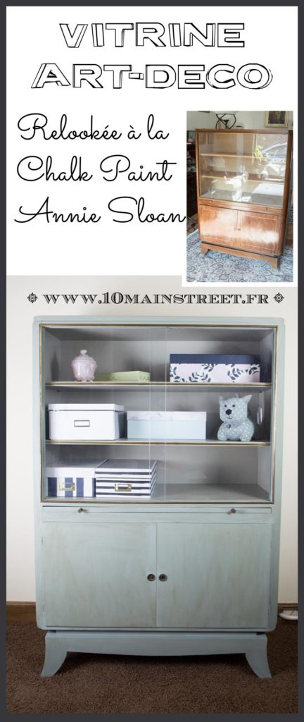 Relooking de la vitrine art-déco à la Chalk paint Annie Sloan duck egg blue