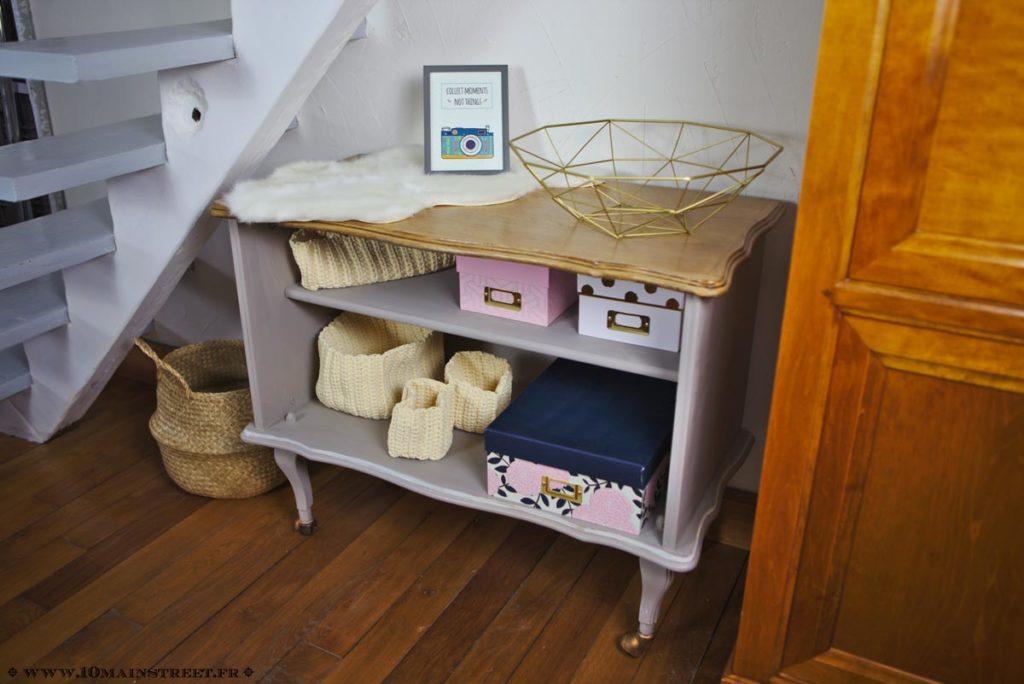 Bar rustique transformé en meuble de rangement très chic
