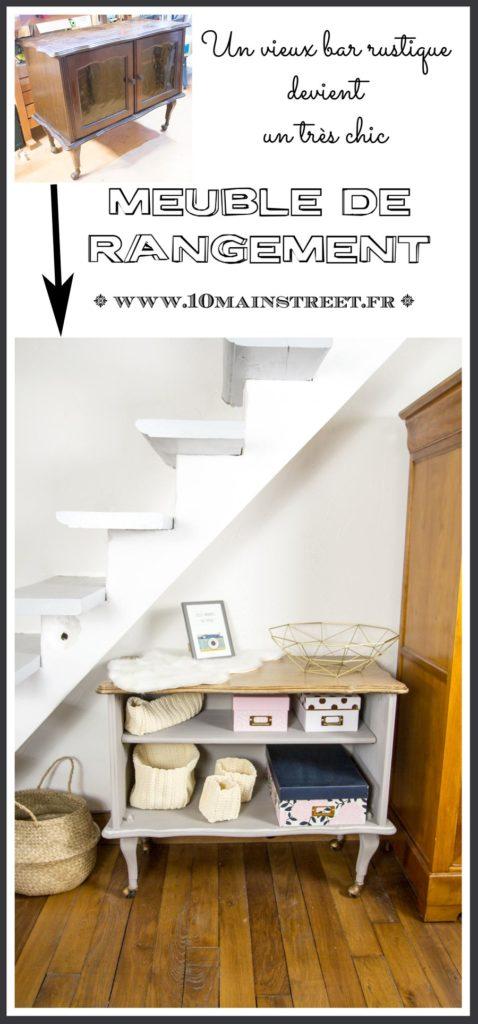 Bar rustique transformé en meuble de rangement très chic #relookingmeuble #furnitureflip #furnituremakeover