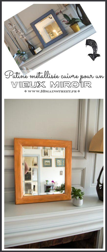 Patine métallisée cuivrée pour un vieux miroir #decoration #miroir #mirror #upcycling