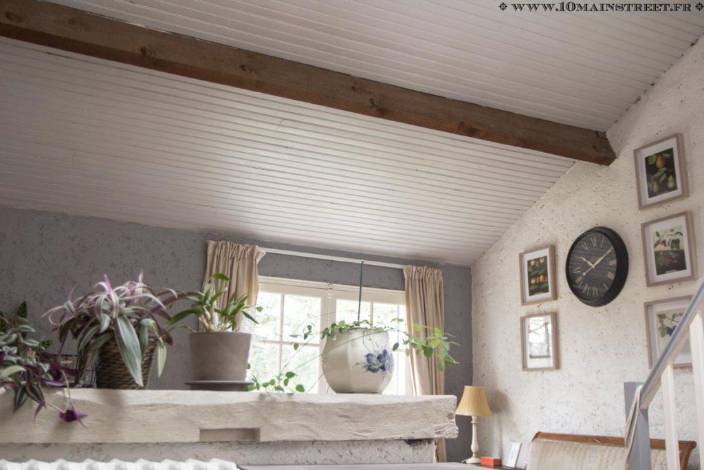 Plafond en lambris peint et poutres brutes