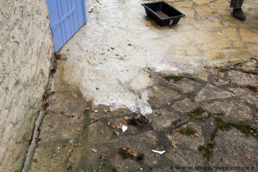 Nettoyage du sol de la terrasse