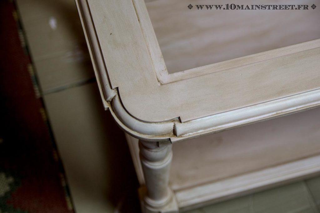 Patine ros e pour une vieille table basse en merisier for Effet miroir sur une photo