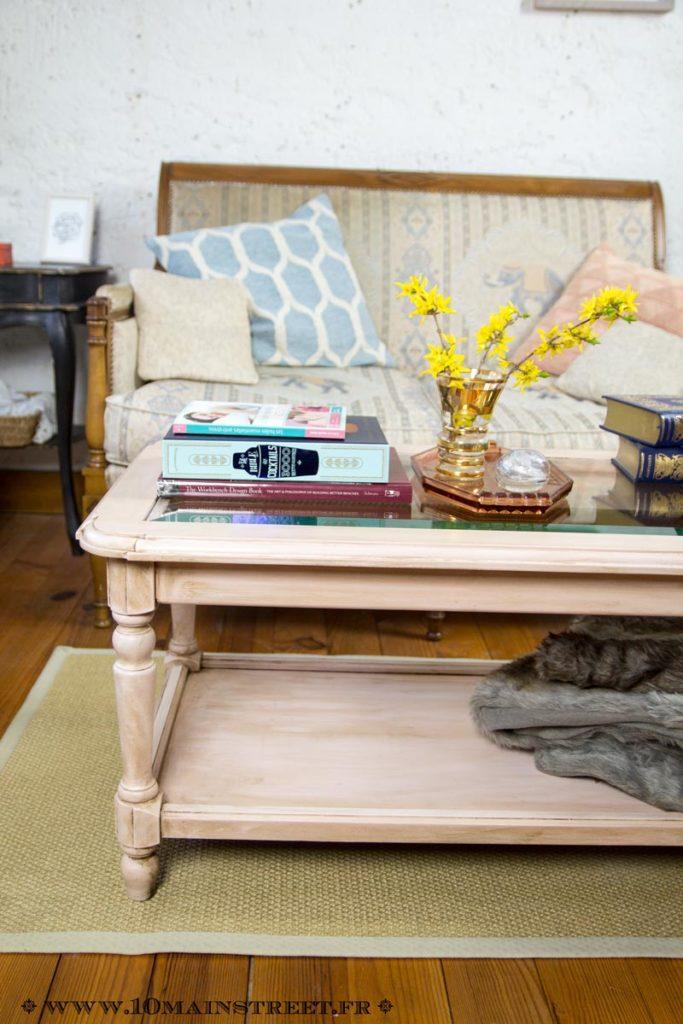 Patine ros e pour une vieille table basse en merisier for Belle fenetre basse goulaine