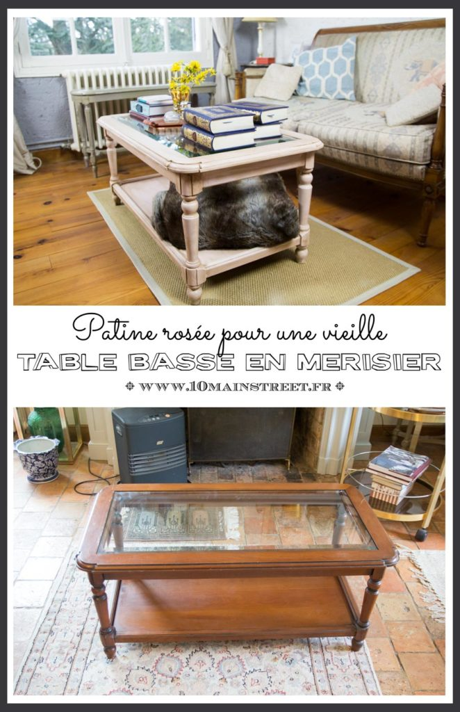 Patine rosée pour une vieille table basse française en merisier #relookingmeuble #furnituremakeover #furnitureflip #frenchcountry