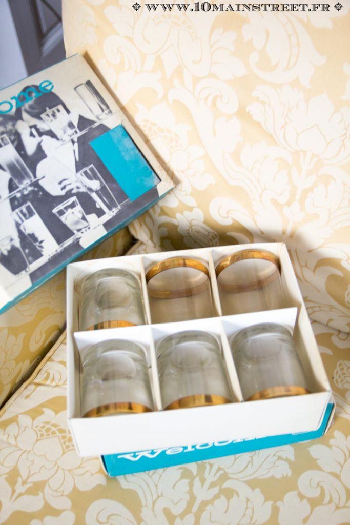 Gobelets à eau Durobor à bord doré