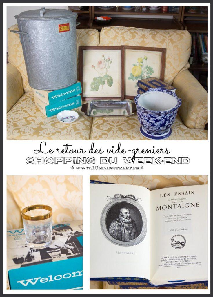 Shopping du week-end : le retour des vide-greniers #retourdechine #videgrenier #porcelaine #vintage #artdeco #bibliophilie #montaigne #zinc
