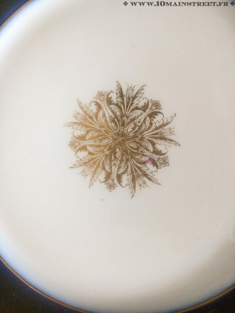 Détail des assiettes Jean Pouyet, porcelaine de Limoges