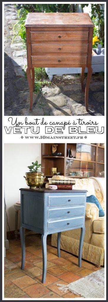Un bout de canapé à tiroirs vêtu de bleu | relooking de meuble avec les produits ID Paris  & Les Anciens Ebénistes