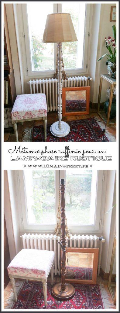 Métamorphose raffinée pour un vieux lampadaire rustique en bois verni avec les produits ID Paris | Perle de Nacre | ID Charme | primaire surfaces spéciales #relooking #luminaire #upcycling