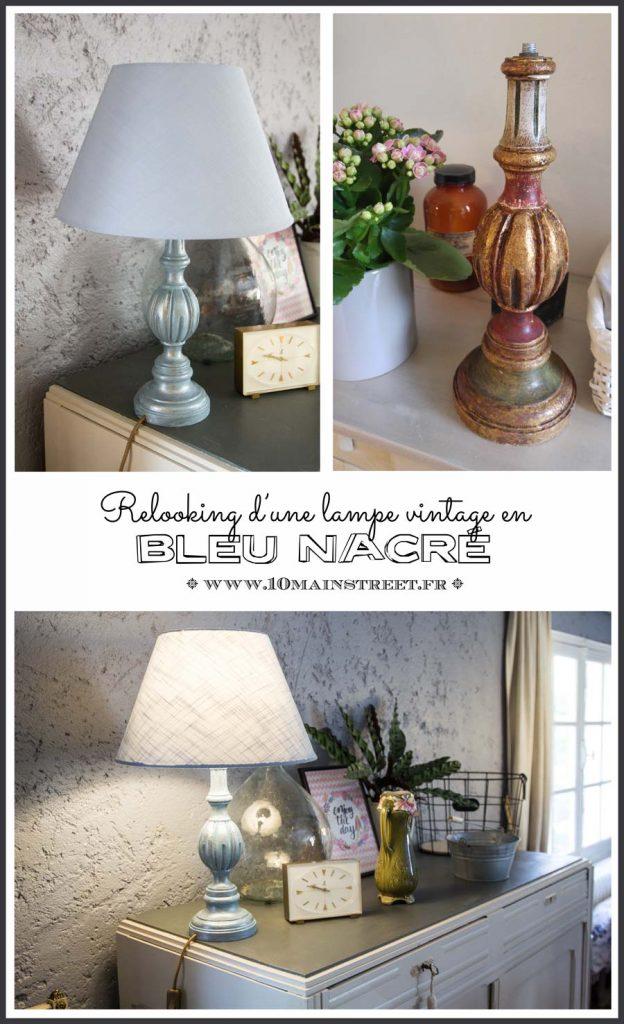Une jolie lampe bleue nacrée | relooking d'une lampe des années 1950/60 avec les produits ID Charme et Perle de Nacre
