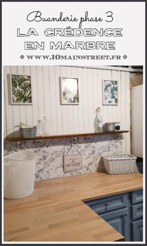 Aménagement de la buanderie phase 3 : installation d'une crédence en marbre (en papier) et d'une étagère #buanderie #laundry