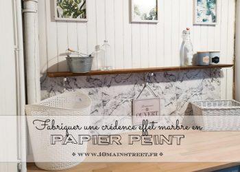 Fabriquer une crédence en papier peint effet marbre