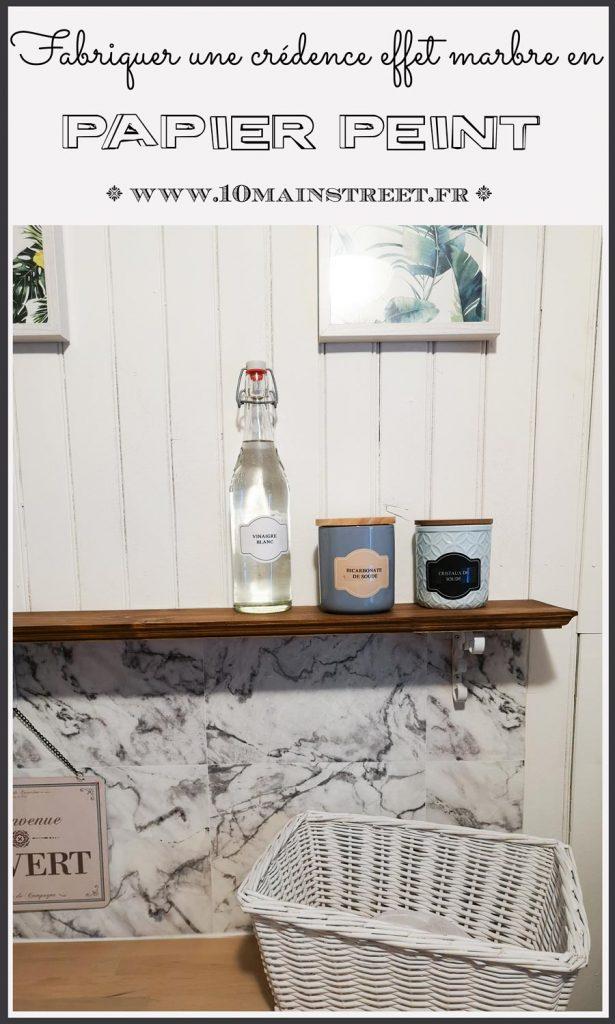 Fabriquer une crédence en papier peint effet marbre | #backsplash #kitchenbacksplash #wallpaper