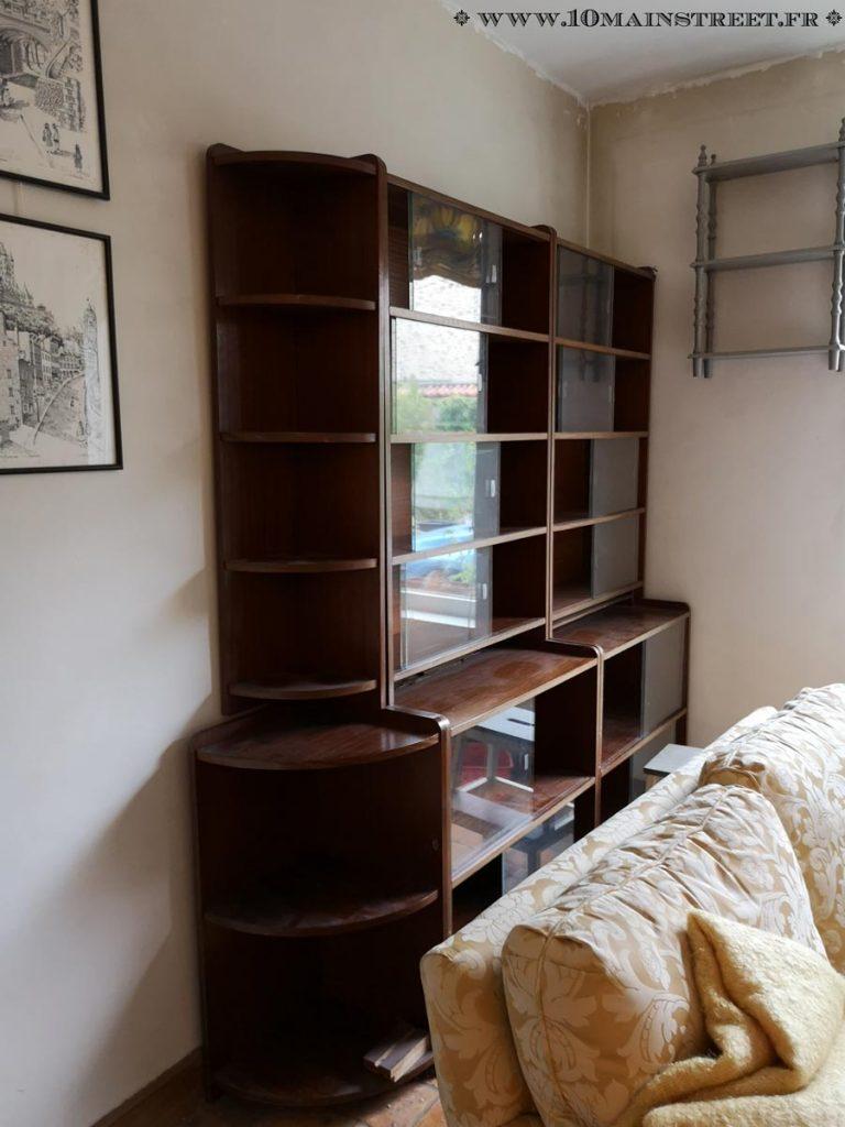 La bibliothèque du salon, état d'origine