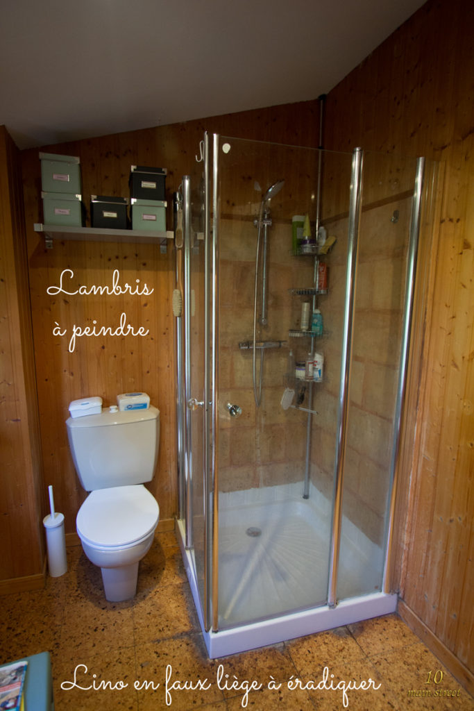 Le mur côté toilettes & douche