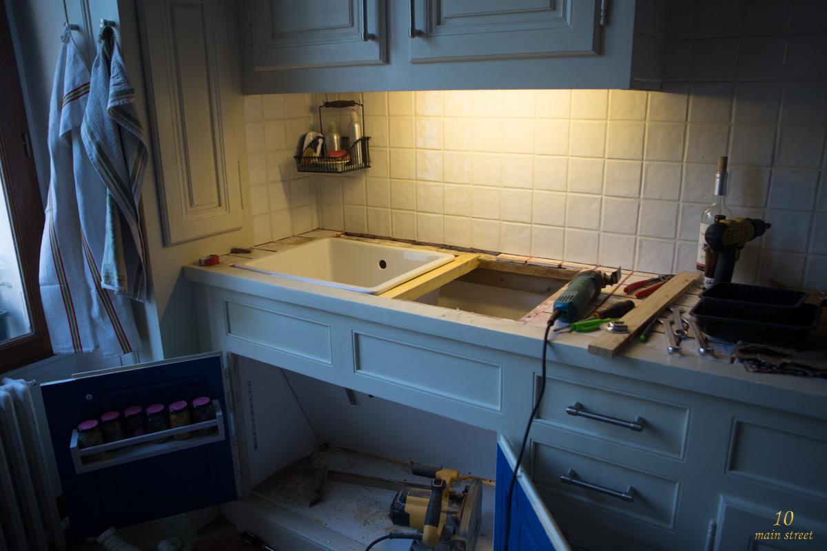 R novation de la cuisine installation du plan de travail - Installation plan de travail cuisine ...