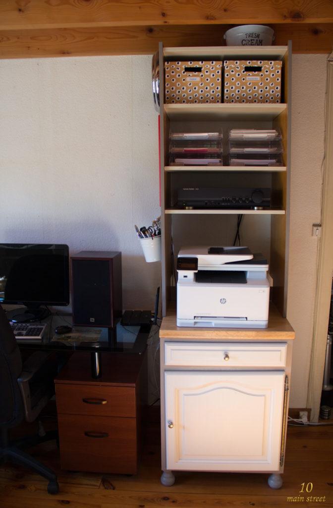 Meuble de l'imprimante et bureau de Cédric