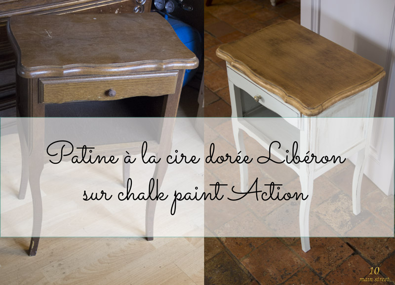 patine la cire dor e sur chalk paint action conclusion sur le chevet. Black Bedroom Furniture Sets. Home Design Ideas