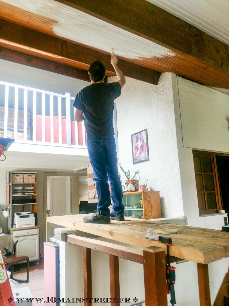 Recouvrir Du Lambris Bois peindre un plafond en lambris en un week-end et transfigurer