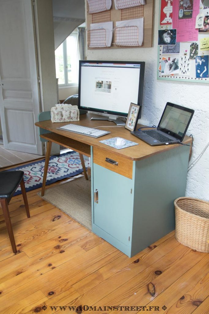 Bureau des années 1950 relooké et installé #midcentury #midcenturymodern