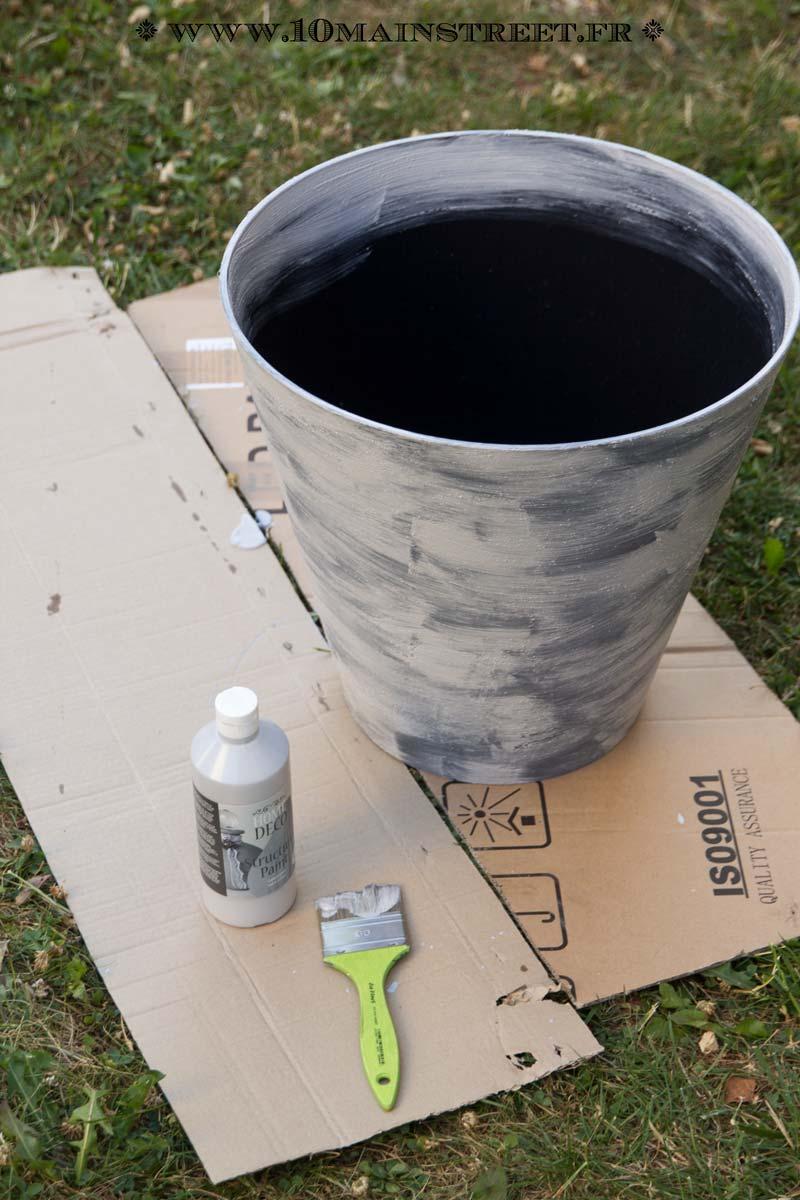 Gros Pot Fleur Plastique customiser un pot de fleurs en plastique avec l'effet ciment